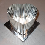 Metal Candle Mold - Fluted Heart 4.5
