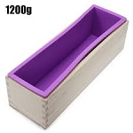 Flexible Rectangular Silicone Soap Loaf Mold with Wood Box