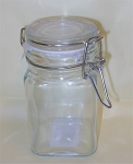 3 oz Square Glass Swing Bale Jar