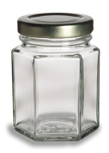 110 ml Hex Jars - (3.75 oz) with Gold Lid