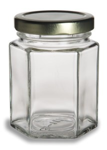 190 ml Hex Jars - (6.5 oz) with Gold Lid