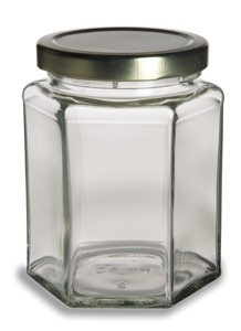 265 ml Hex Jars - (12 oz) with Gold Lid