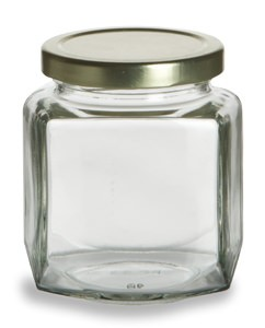270 ml Oval Hex Jars - (9 oz) with Gold Lid