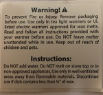 Wax Melt Warning Label