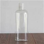 8 oz. Clear Oval Plastic Bottle with Natural Smooth Disc Top